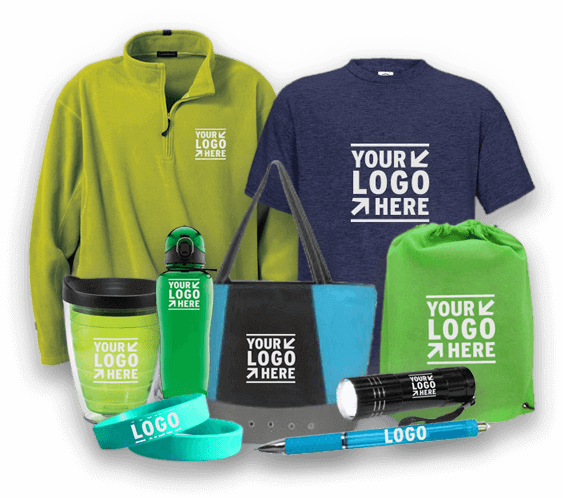 branded merchandise collage
